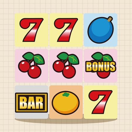 vegas sign: casino slot machine theme elements Illustration