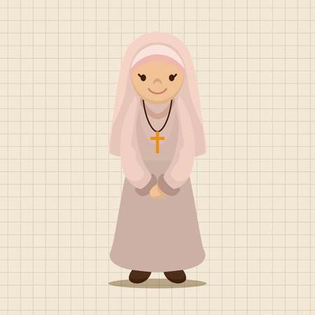 the catholic church: pastor and nun theme elements vector,eps