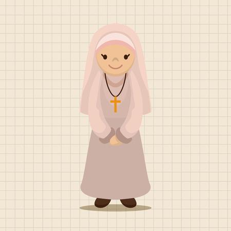 catholic church: pastor and nun theme elements vector,eps