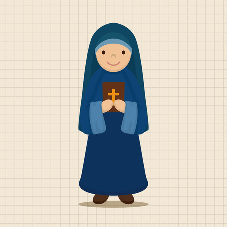 preacher: pastor and nun theme elements vector,eps