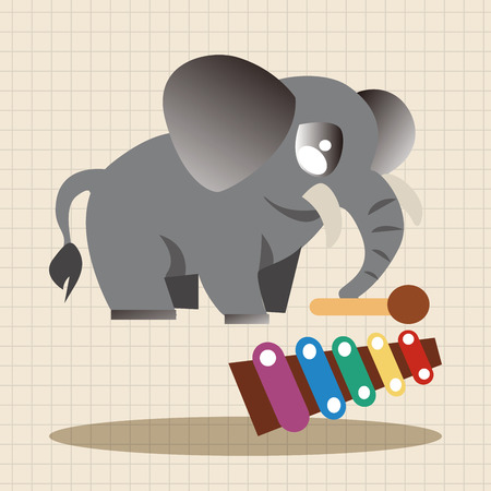 playing instrument: animal elephant playing instrument cartoon theme elements