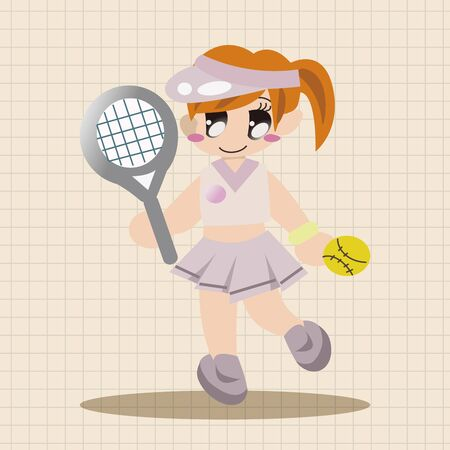 indoor court: badminton player theme elements