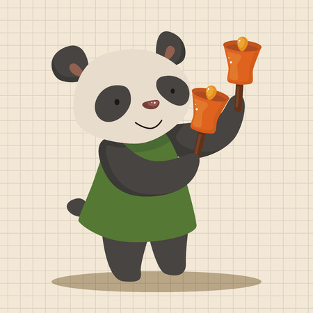 playing instrument: animal panda playing instrument cartoon theme elements