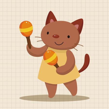 playing instrument: animal cat playing instrument cartoon theme elements Illustration