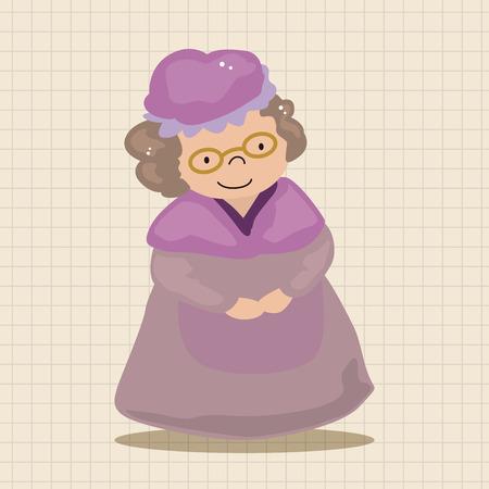 cartoon little red riding hood: grandmom in little red riding hood theme elements