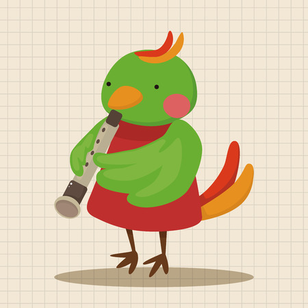 playing instrument: animal bird playing instrument cartoon theme elements Illustration