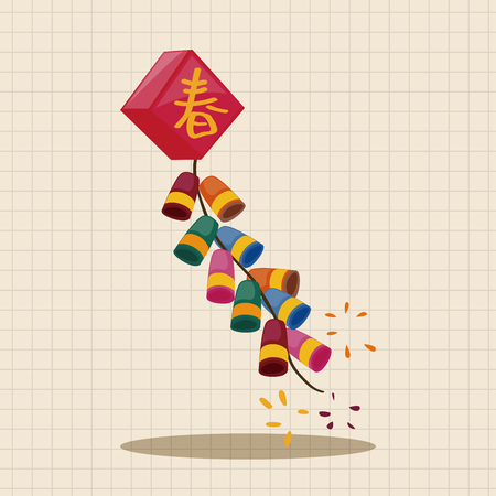 firecrackers:  Wish spring comes Chinese firecrackers theme elements Illustration