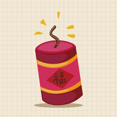 prosper:  Wish spring comes Chinese firecrackers theme elements Illustration