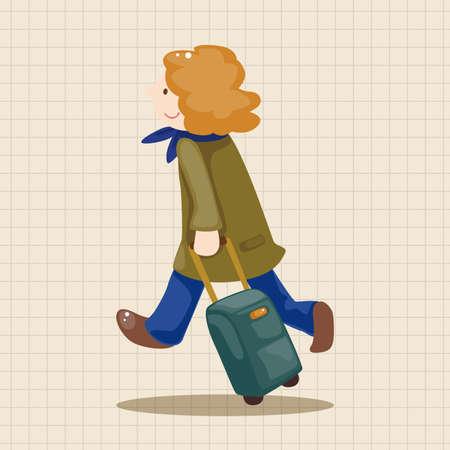 mujer con maleta: viajando elementos tem�ticos persona Vectores