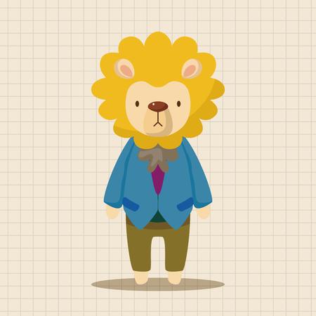 design drawing: animal lion worker cartoon theme elements