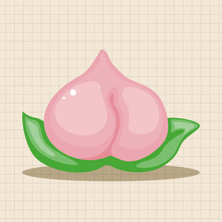 new icon: Chinese New Year peaches of immortality theme elements, Peaches of immortality is a kind of bread and it means who ate the peach can live forever.