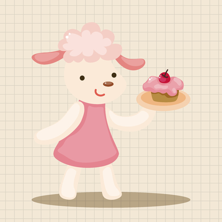 afternoon: animal having afternoon tea theme elements