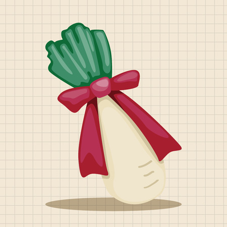 vegatables: Chinese New Year theme elements, lucky white radish with Chinese words means  Wish it can brings luck to you in the new year.