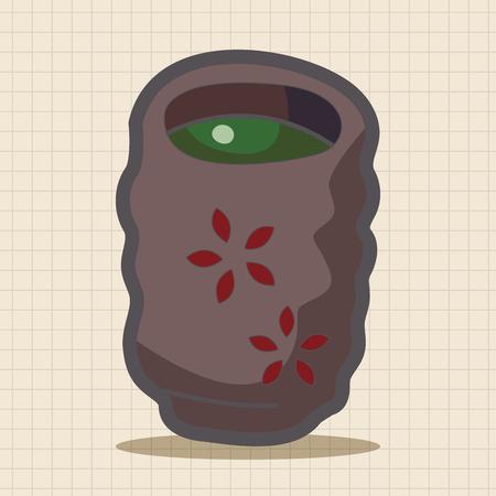 green tea cup: Japanese hot tea theme elements