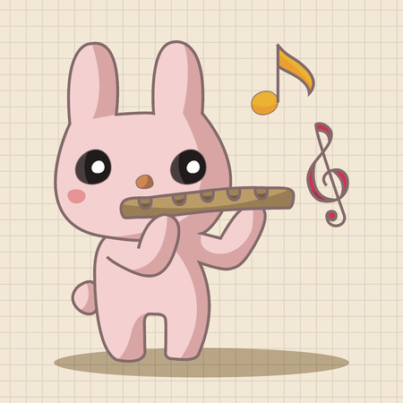 playing instrument: animal playing instrument cartoon theme elements