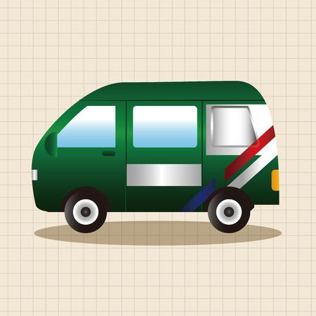 trasporto tema Post Office elementi auto vettoriale, eps