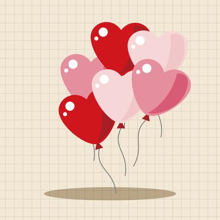 Día elementos globos temáticos de San Valentín Ilustración de vector