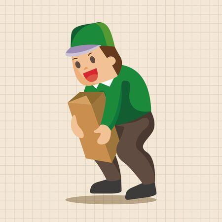 asian adult: deliveryman theme elements vector,eps