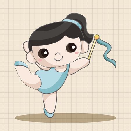 gymnastics: Gymnastik Thema Elemente Illustration