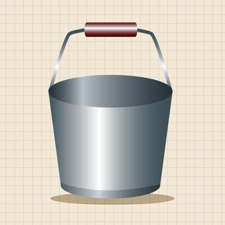 cartoon wood bucket: water bucket theme elements Illustration