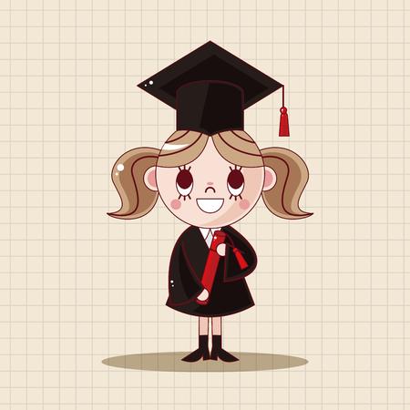 graduacion caricatura: Elementos del tema de los estudiantes de posgrado Vectores
