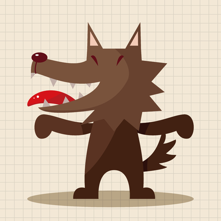 animal wolf cartoon theme elements Illustration