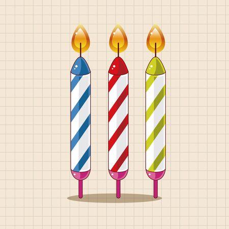 Elementos del tema de la vela de cumpleaños