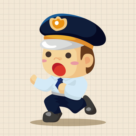 cartoon police officer: policeman theme elements