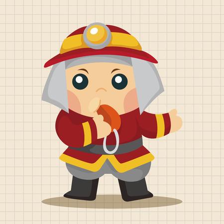 fire rescue: fireman theme elements Illustration