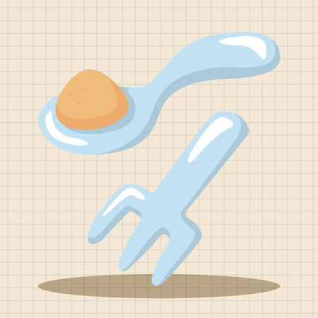 serving food: baby spoon and fork theme elements Illustration