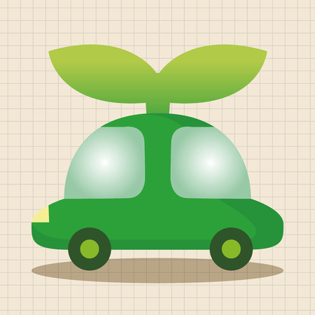 environmental conservation: Environmental protection concept theme elements; Reduce the use of gasoline, reduce air pollution; Electric Car; walk or take the public transportation Illustration