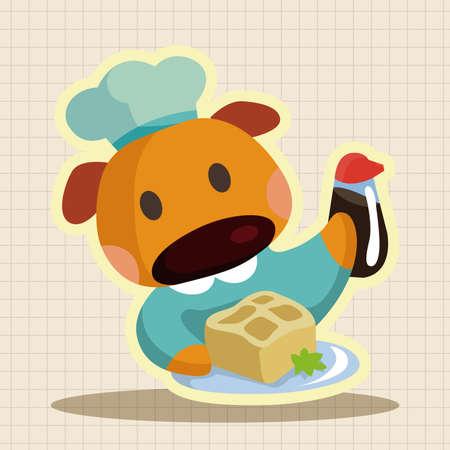 cartoon dog: animal dog chef cartoon theme elements