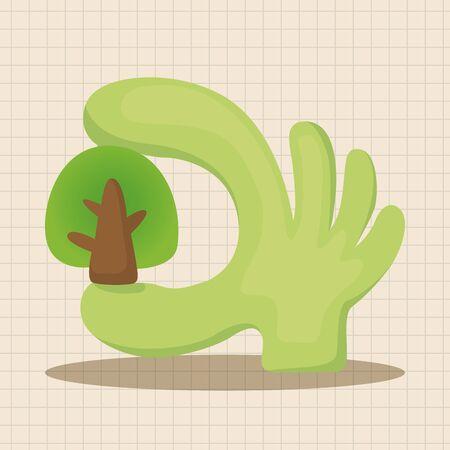 proteccion: Elementos temáticos concepto de protección del medio ambiente; Proteger nuestros bosques y planta ecológica.