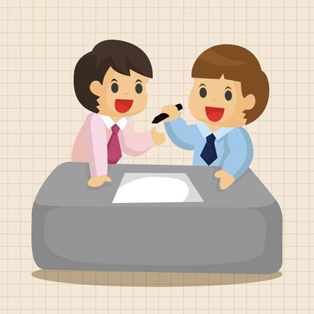 happy employees: Office workers theme elements