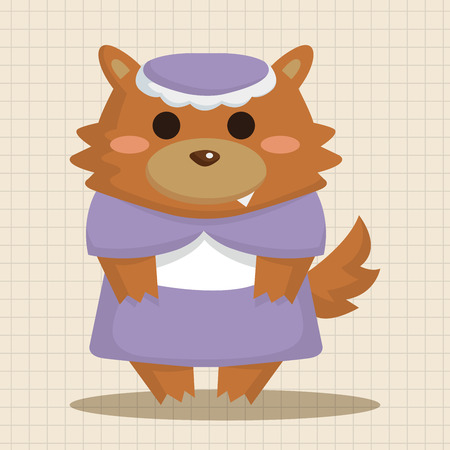 cartoon little red riding hood: Wolf in Little Red Riding Hood theme elements