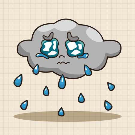 monsoon clouds: weather rainy day theme elements Illustration