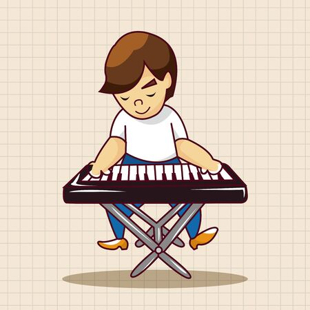 performers: band member keyboard player theme elements Illustration