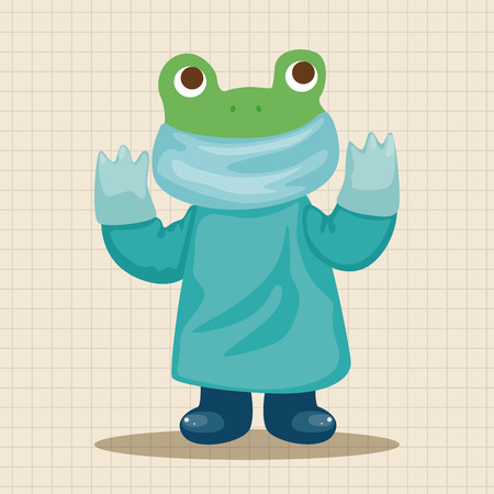 healthcare workers: animal frog doctor cartoon theme elements