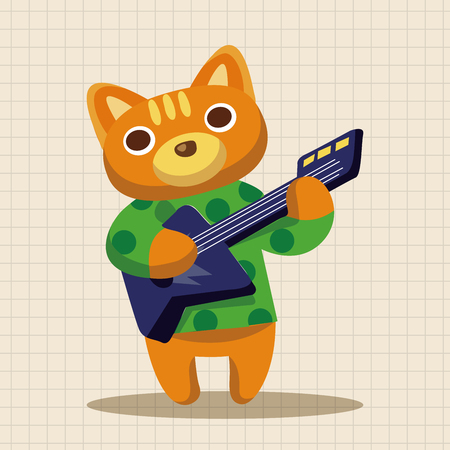 gato jugando: animal cat playing instrument cartoon theme elements Vectores