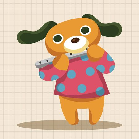 cartoon dog: animal dog playing instrument cartoon theme elements Illustration