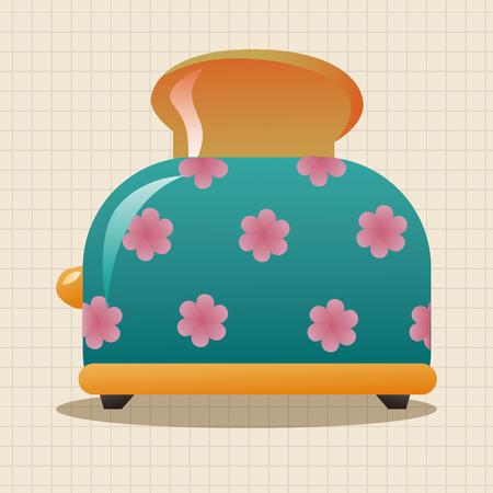 appliances: Home appliances theme toaster elements Illustration