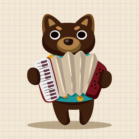 playing instrument: animal dog playing instrument cartoon theme elements Illustration