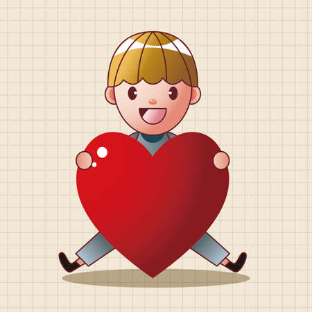 child girl: little kid with heart theme elements Illustration