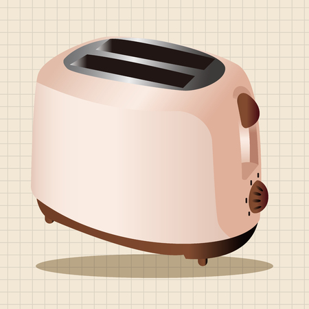 bread maker: Home appliances theme toaster elements Illustration