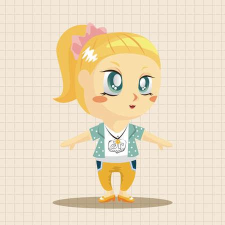 little girls: lady girl cartoon theme elements Illustration