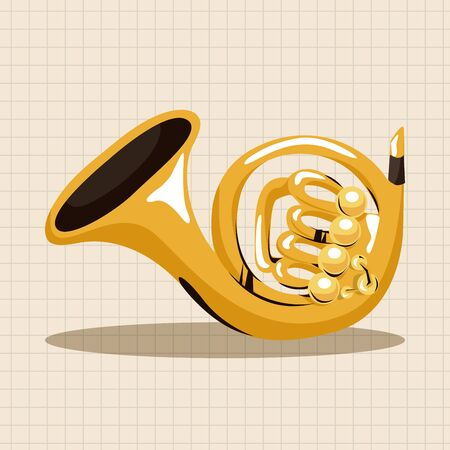 french horn: instrument french horn cartoon theme elements