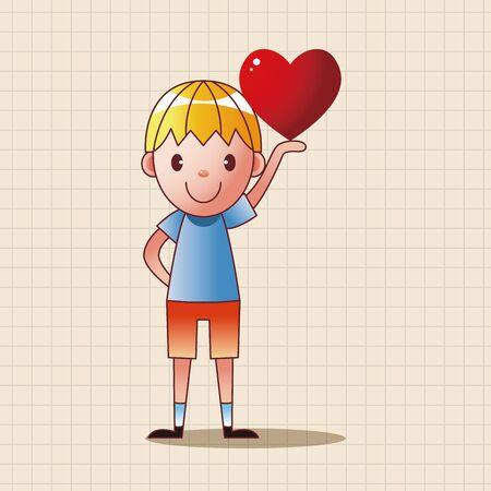 little child: little kid with heart theme elements Illustration