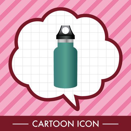 キャンプの水のボトルのテーマの要素  イラスト・ベクター素材