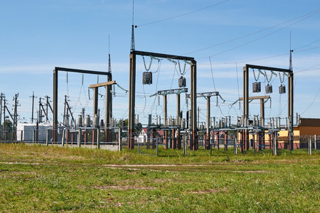 substation: electric substation in a small village Stock Photo