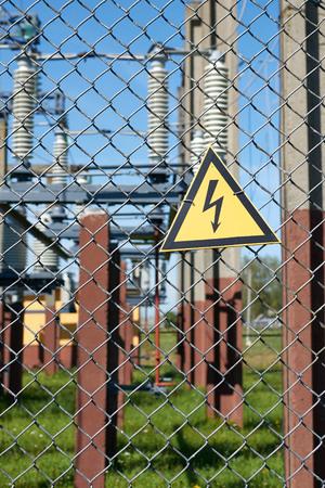 sign high voltage substation fencing. vertical frame.